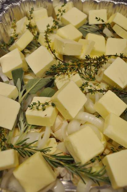Butter and herbs can help prevent the skin from drying out.