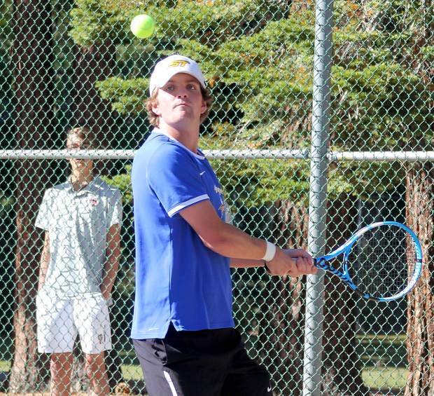 South Tahoe's Peter Sullivan hits a backhand return Wednesday against Truckee.