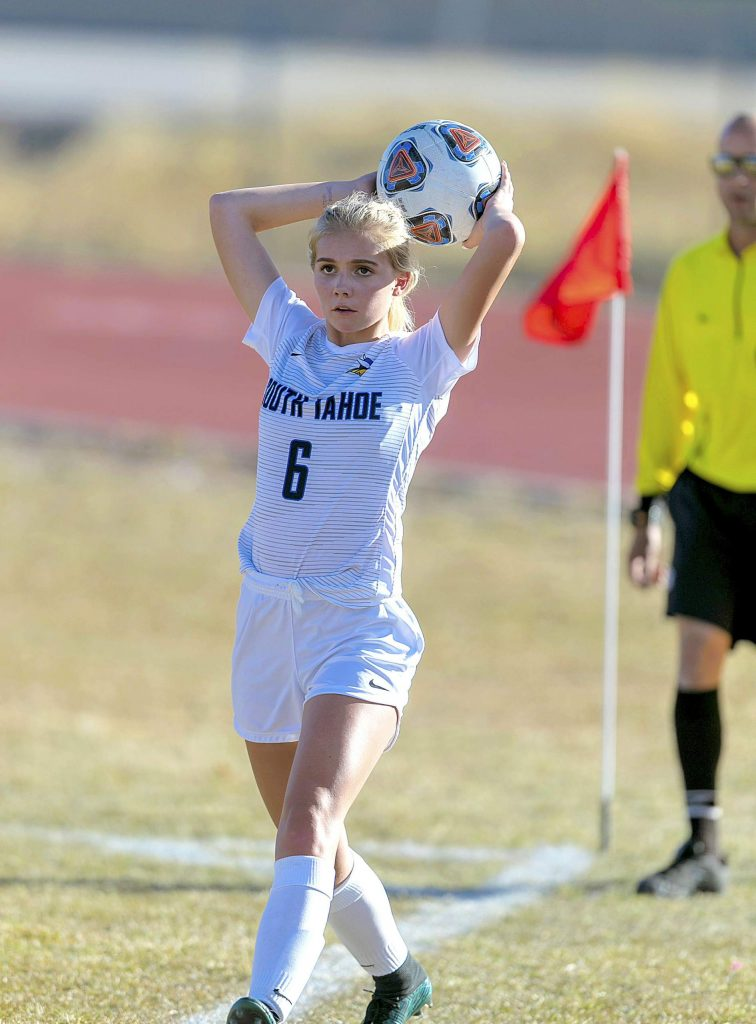 South Tahoe's Ashley Johnson puts the ball in play Tuesday against Truckee.
