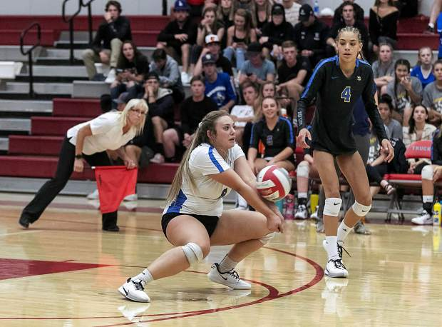 South Tahoe libero Kaitlyn Racca makes a dig.