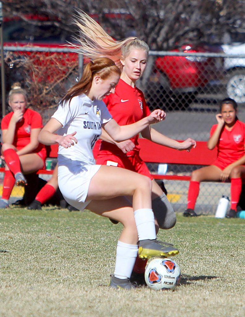 South Tahoe forward Kelsey Hogan controls possession for the Vikings.