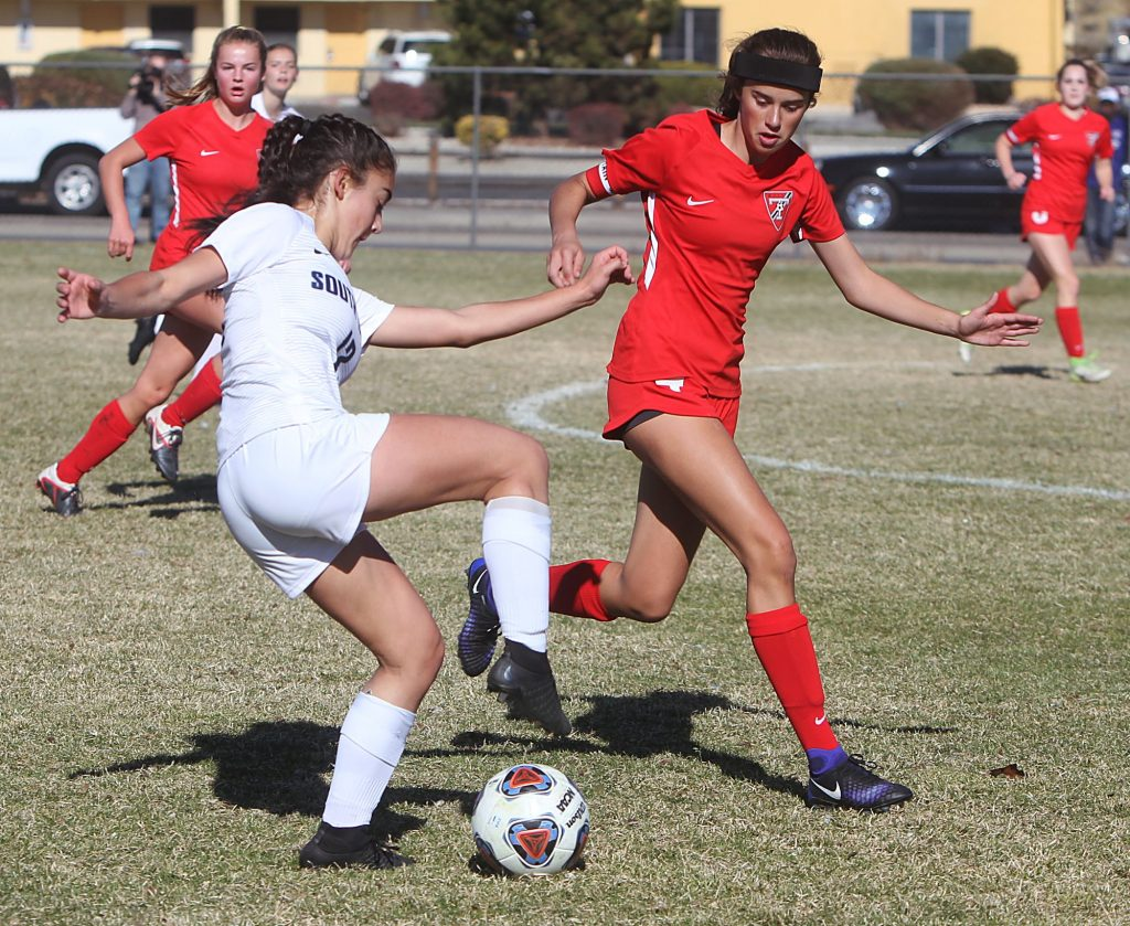 South Tahoe star Giovana De Loia uses fancy footwork Saturday against Truckee.
