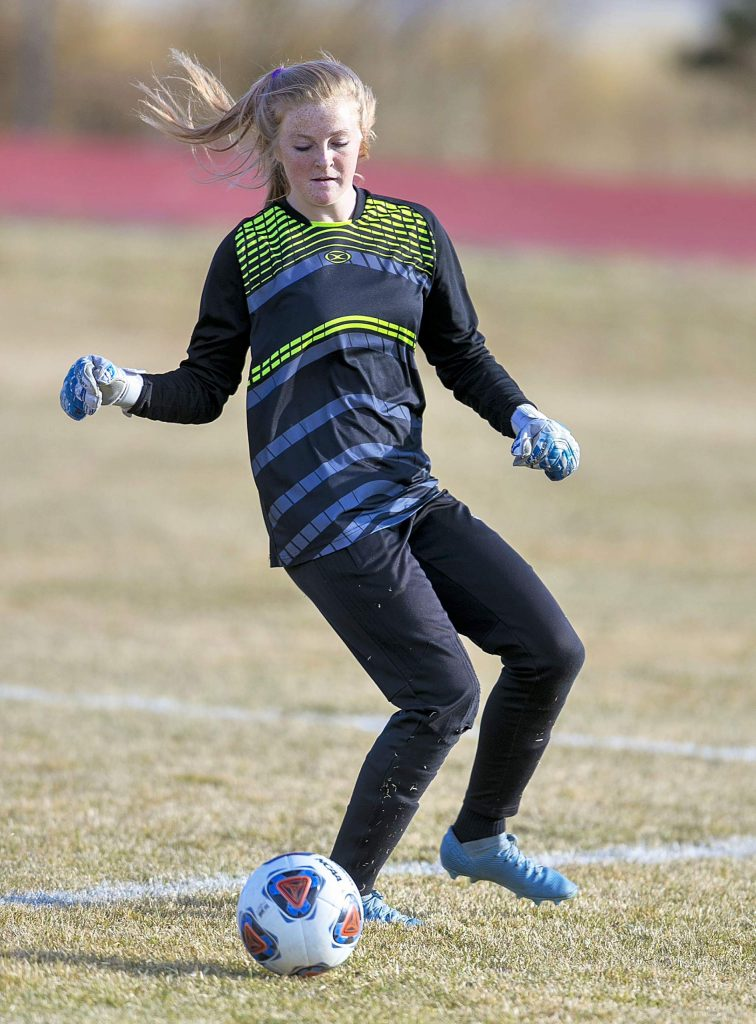 South Tahoe goalie Phoebe Barkann makes a play earlier in the year.