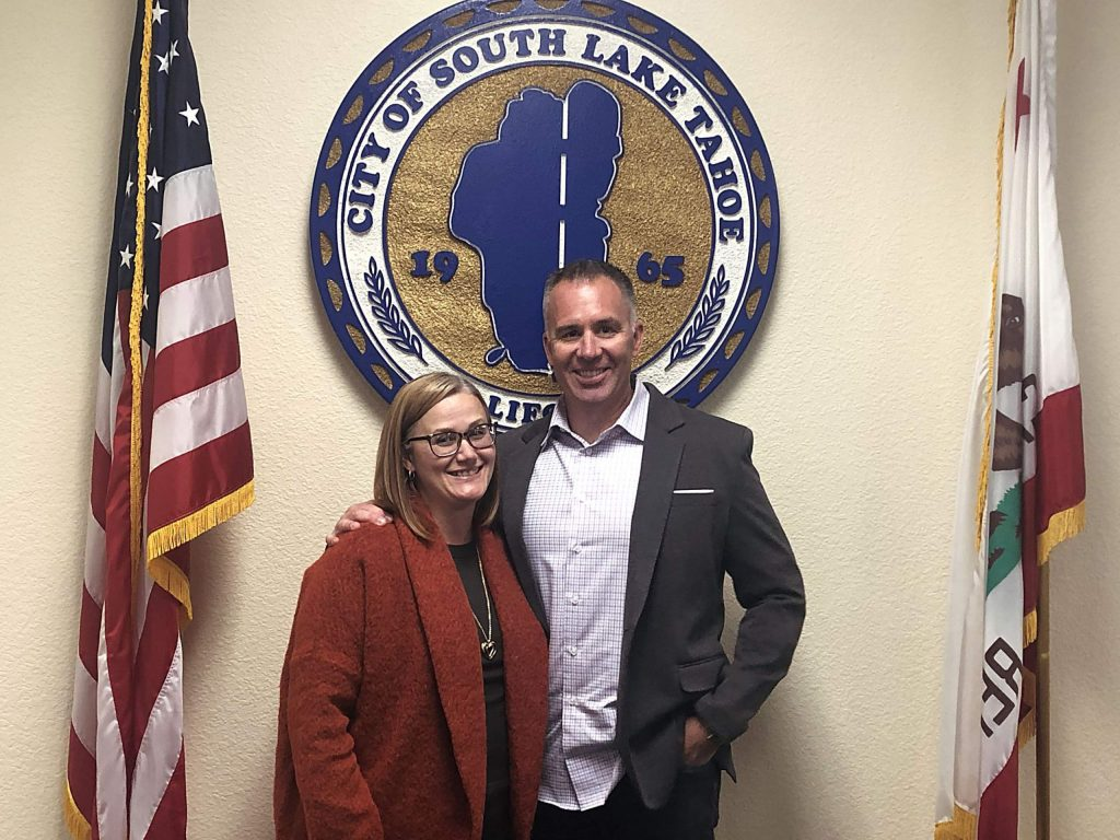 Jason Collin (right) will start 2020 as the mayor of South Lake Tahoe while Tamara Wallace will be the vice mayor.