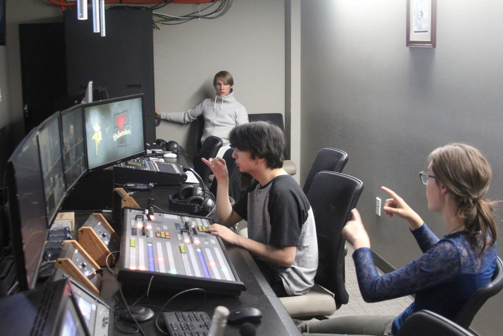 South Tahoe students learn teamwork through working together in the control room.