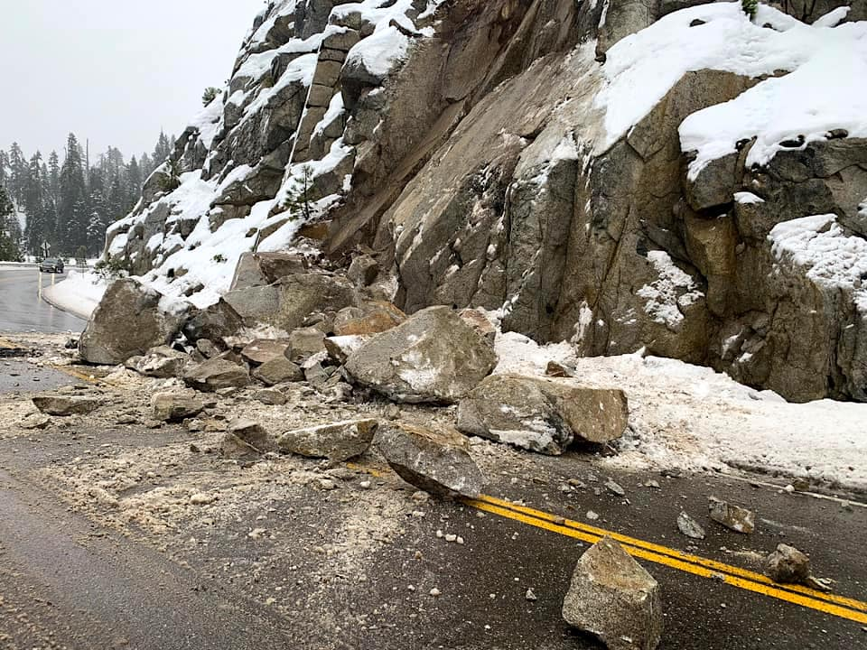 A rockslide has slowed traffic on US Highway 50.