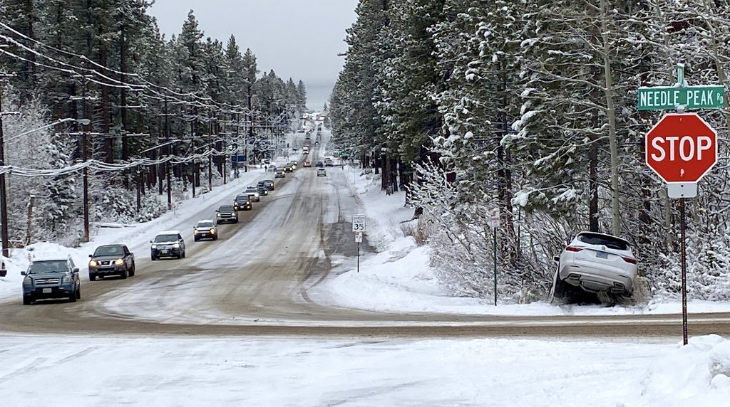 A vehicle slid off the road Monday morning at the Ski Run Blvd and Needle Peak Rd. intersection in South Lake Tahoe.