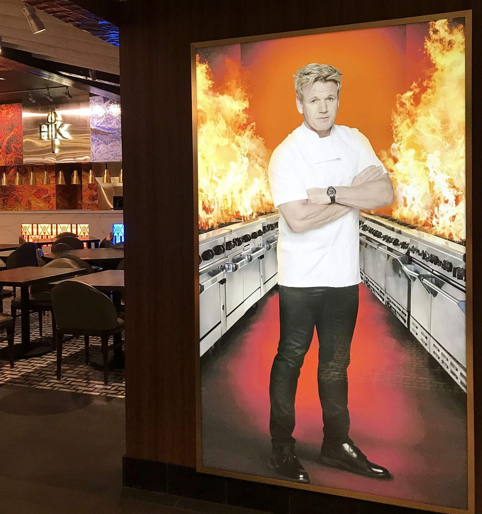 Photos of Gordon Ramsay are located all around Hell's Kitchen Lake Tahoe.