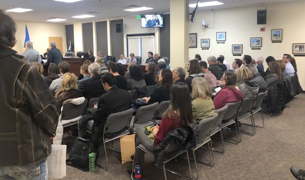 Residents packed city council chambers Tuesday for a public hearing about a cell tower.