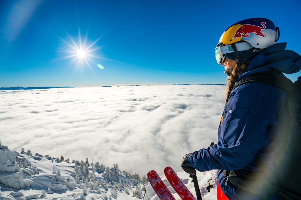 Michelle Parker of Squaw Valley looks down at Lake Tahoe before a run last winter. It was in April of this year, though, when she looked down at what would become her greatest ski line ever at Caffeine Ridge in Haines, Alaska.