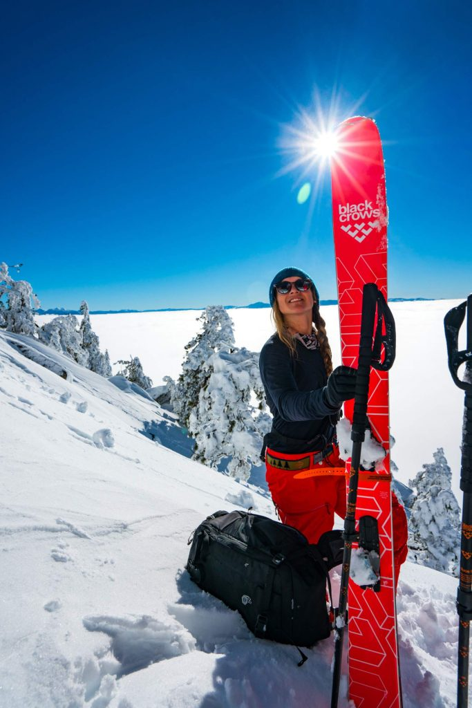 Michelle Parker takes a break from a backcountry ski session this past winter at Lake Tahoe.