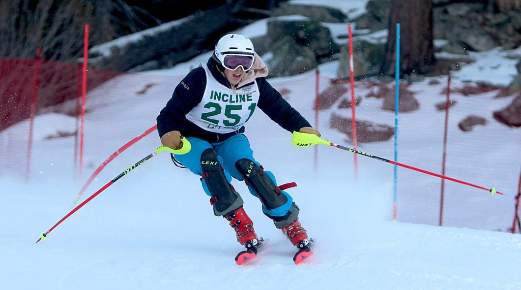 Incline Village's Paloma Nolan-Bowers screams down the slalom course Wednesday morning at Heavenly Mountain Resort. Nolan-Bowers took first in the girls' race.