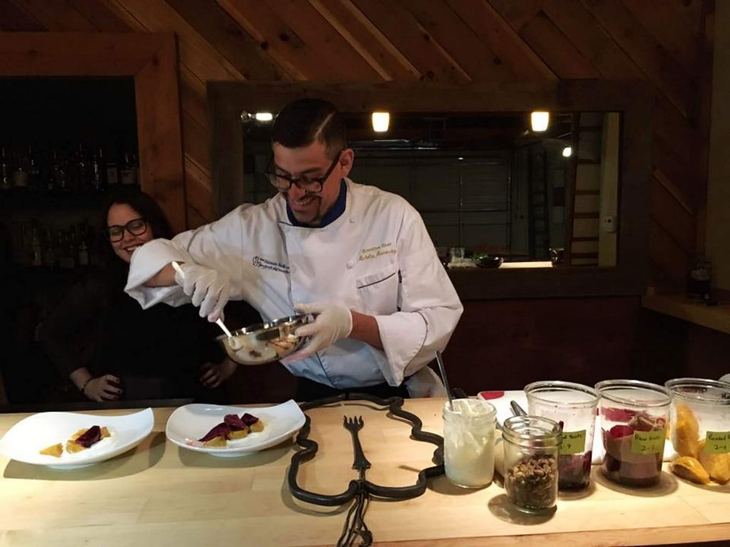 Chef Nicholas Hernandez will come to your house with a small team and teach people how to make dinner.