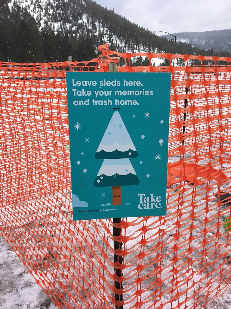Tahoe Fund urges people to take their broken sleds home unless they absolutely can't.