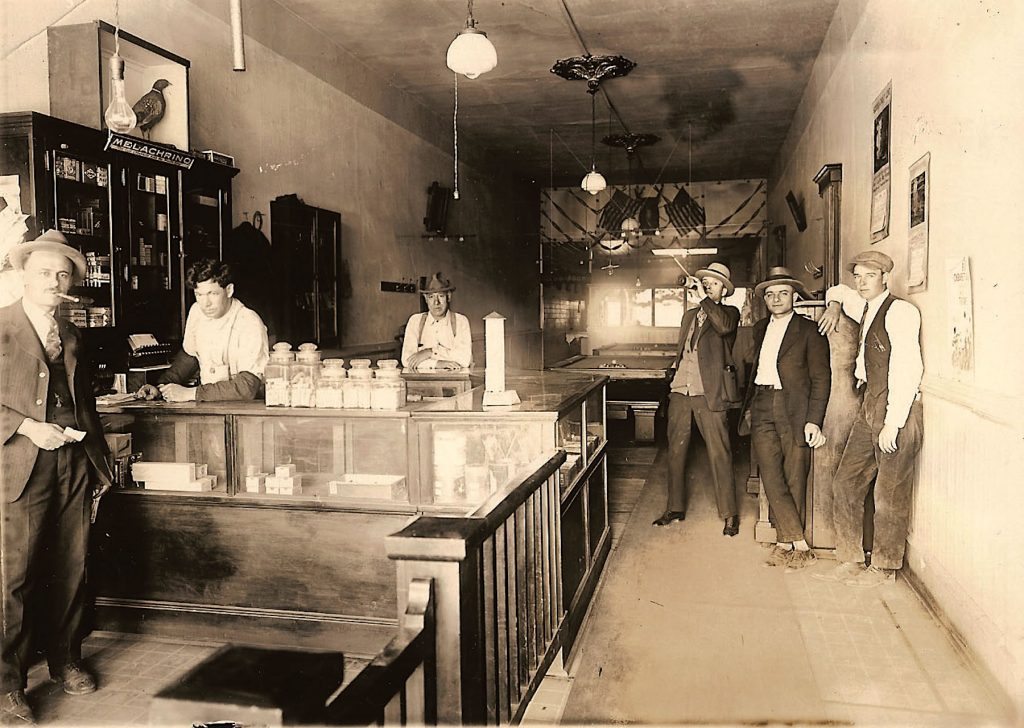 The Pastime Club in downtown Truckee (which still exists today as a much-more modern pub) was a favorite localspeakeasyin the 1920s and early '30s. Dick Joseph, on the left, ran the pool hall on the level, but ran aspeakeasyin the basement. Ralph Cross, Jack Hightower, Luis Martini and Oldman Wood round out the scene.