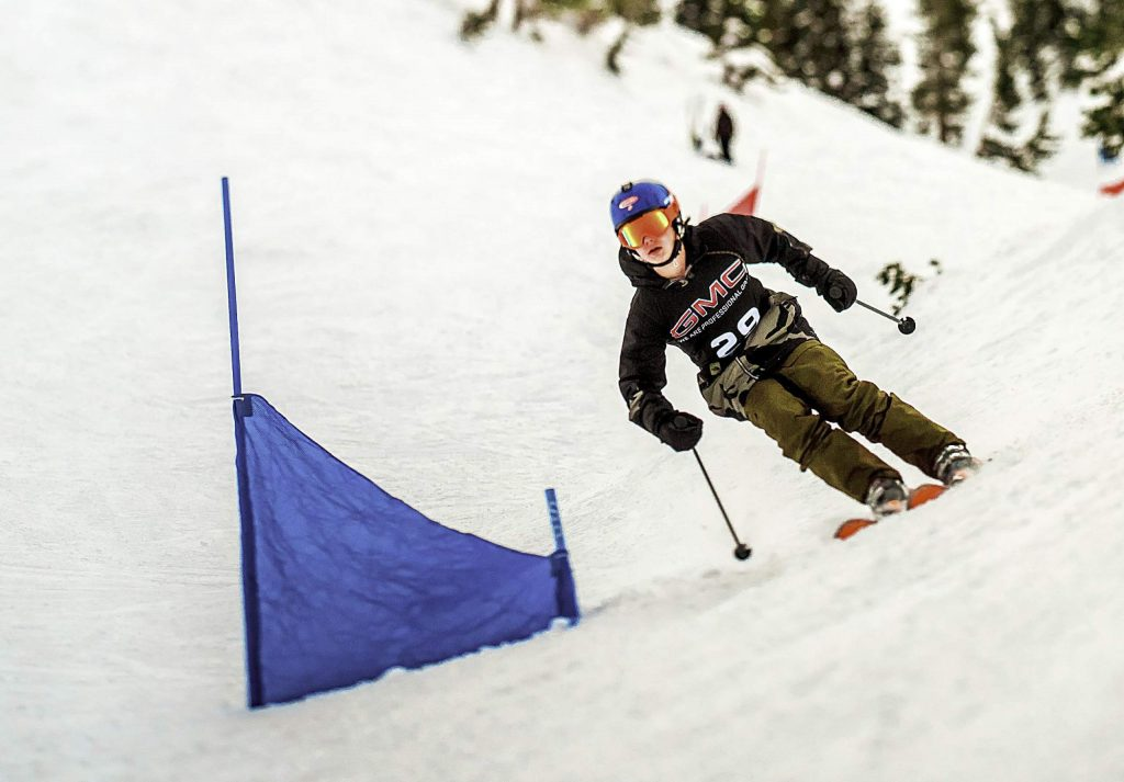 A competitor races down the banked slalom course in a previous competition.