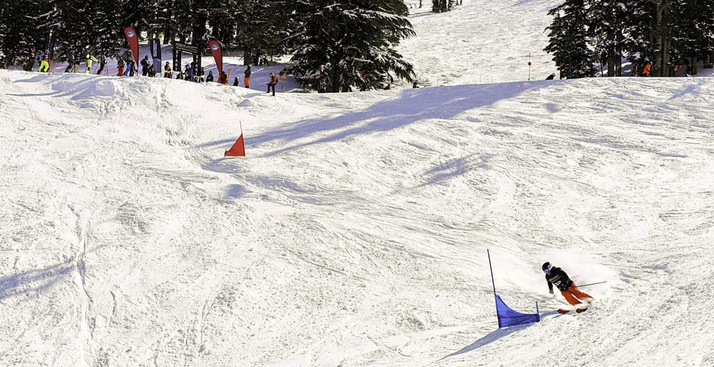 The annual Banked Slalom event takes place in Snow Snake Gully at Kirkwood.