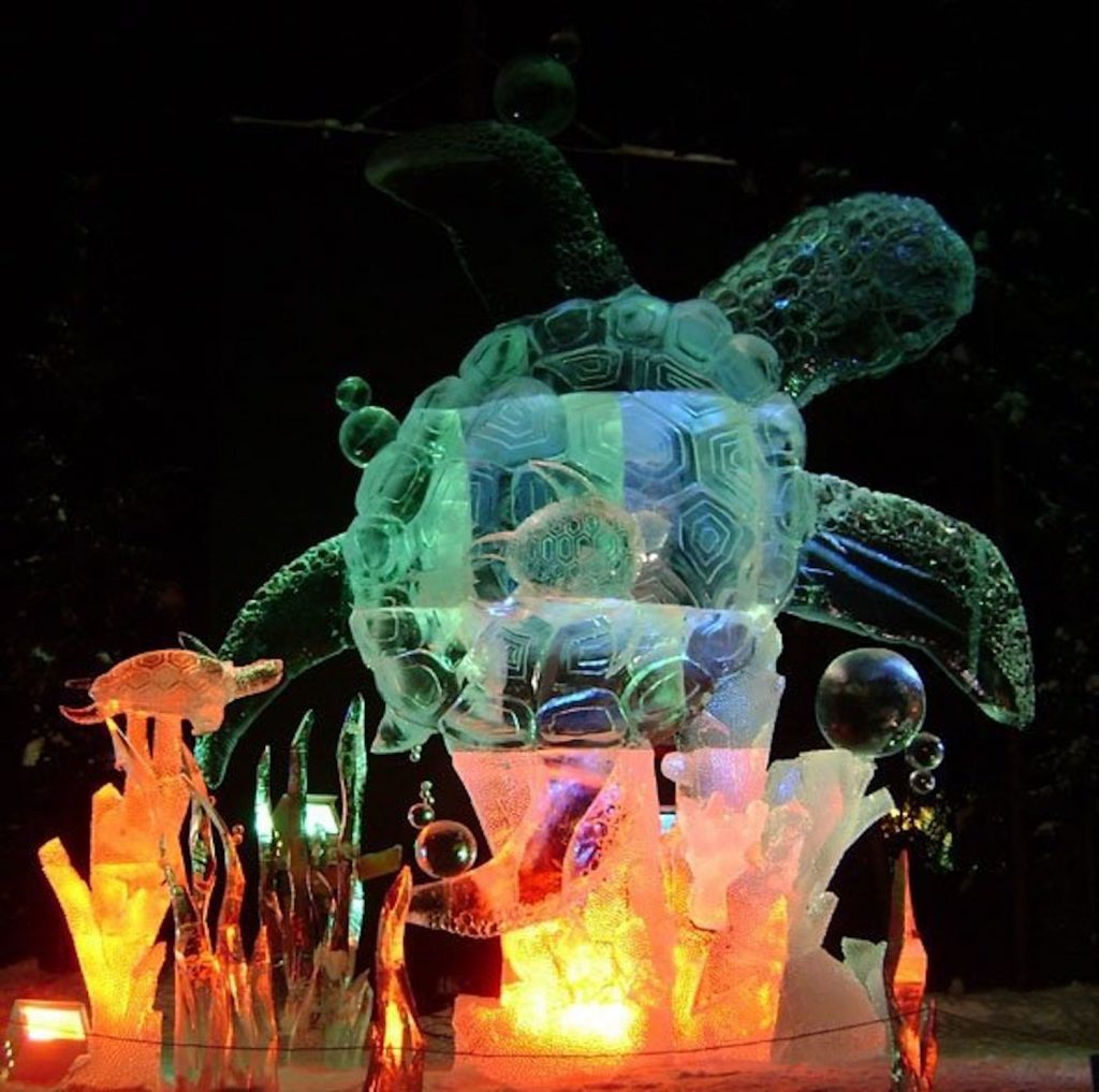 "The ice sculpture ""Swimming Lessons"" won Winslow and his team second place in the realistic category at the World Ice Art Championships in Fairbanks, Alaska."