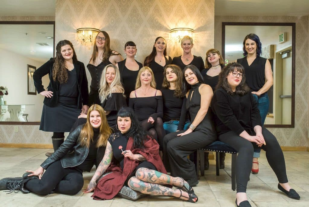The cast of the Vagina Monologues includes (top row, from left) Michelle Morton, Moxie Fox, Eva Salyer, Amber Herron, Robin Orr, Kalayna Miller, Rachael Armstrong, (middle row, from left) Shelley Zentner, Lacy Stenzel, Elki Cederquist, Jen Dawn, Ellen Martin, (bottom row, from left) Nina Mondani and Eleanor BonBon.
