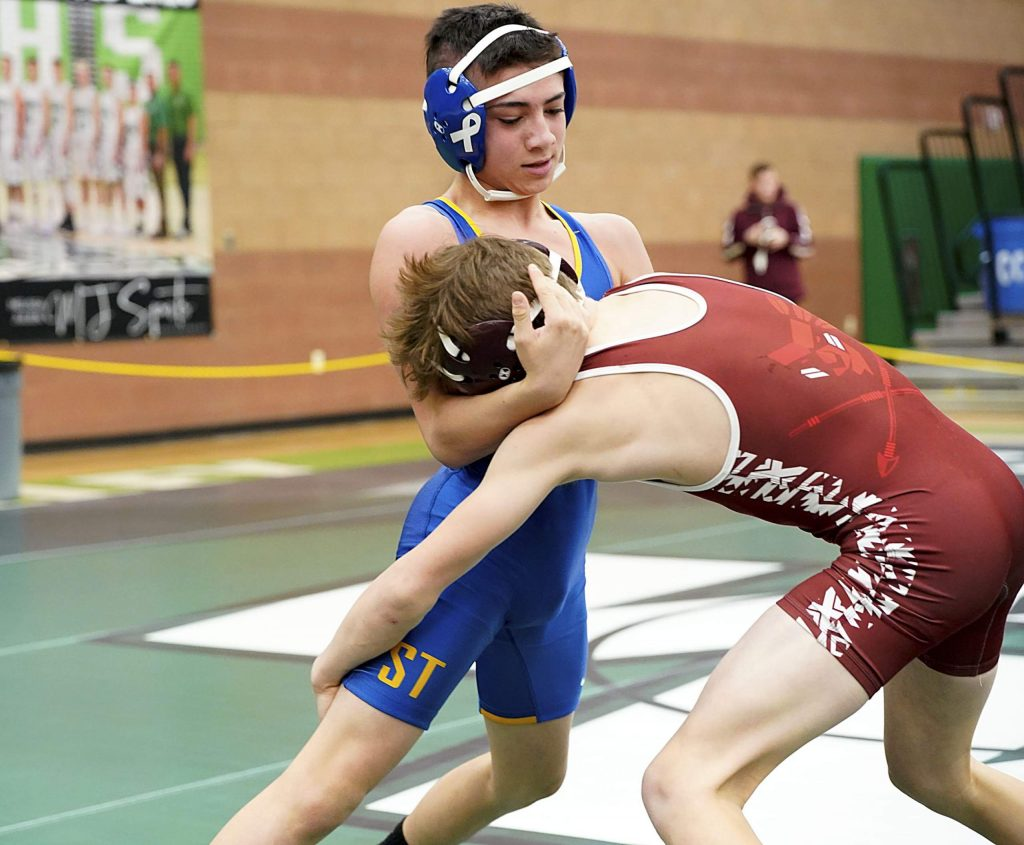 South Tahoe's Aiden Breen works against an opponent at state.