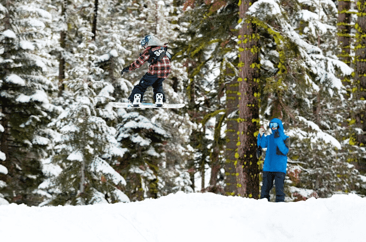 Serina Verduzco gets big air during a Slopestyle event at Sierra.