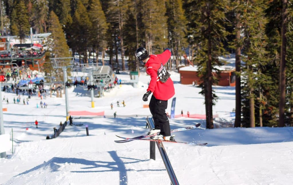 Peter Anthony, of South Lake Tahoe, rides a rail last weekend during a Slopestyle event at Sierra.