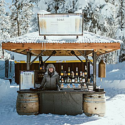 Northstar's ski-up bar Tost gives skiers and riders a chance toast with champagne.