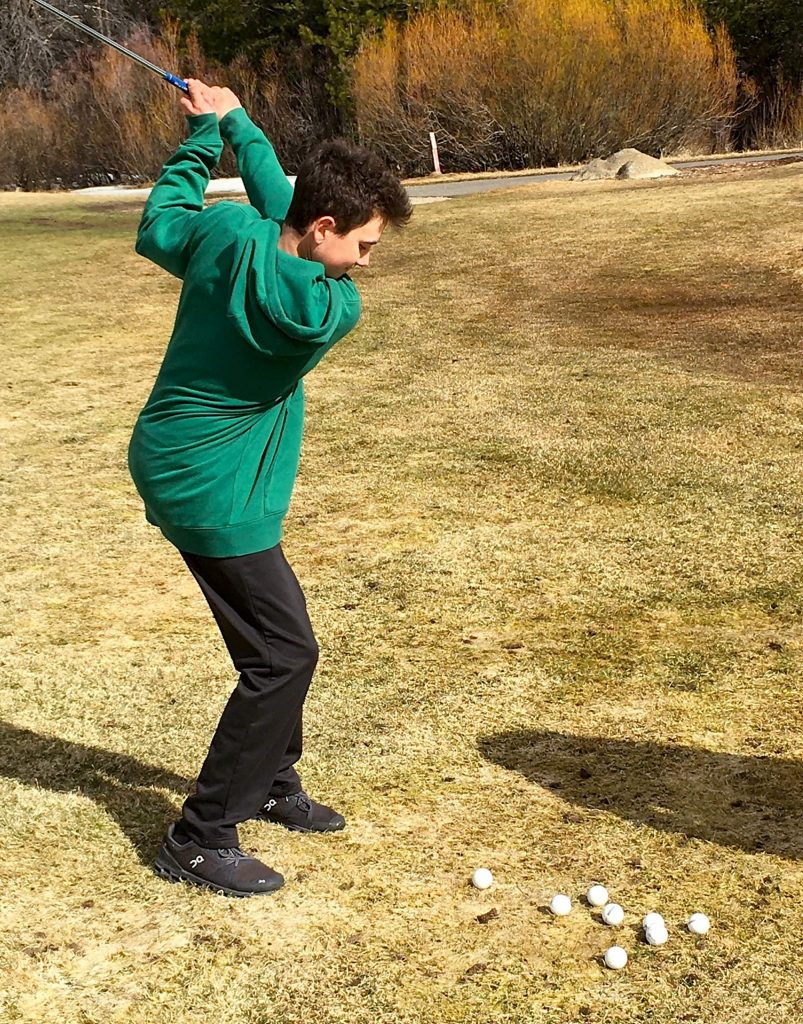 South Tahoe's Bailey Sommerfeld practices at Lake Tahoe Golf Course.