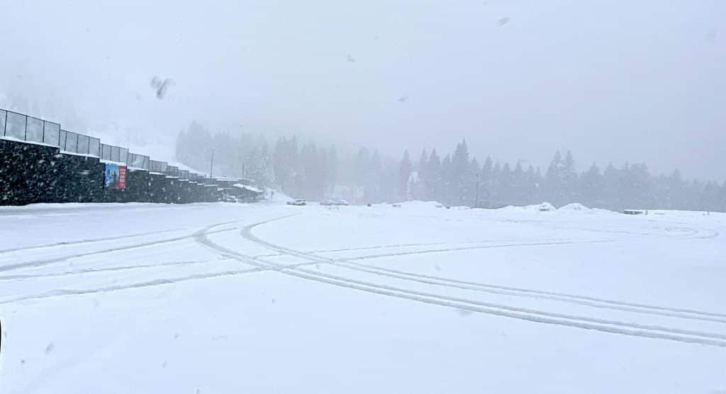 An empty parking lot Sunday at Heavenly Mountain Resort's California Lodge.