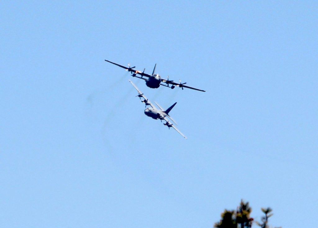 Three C-130 planes flew from Gardnerville to South Lake Tahoe before flying over the West and North shores.