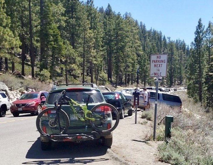 Nevada Highway Patrol during a usual weekend writes hundreds of citations for cars parked illegally on State Route 28.