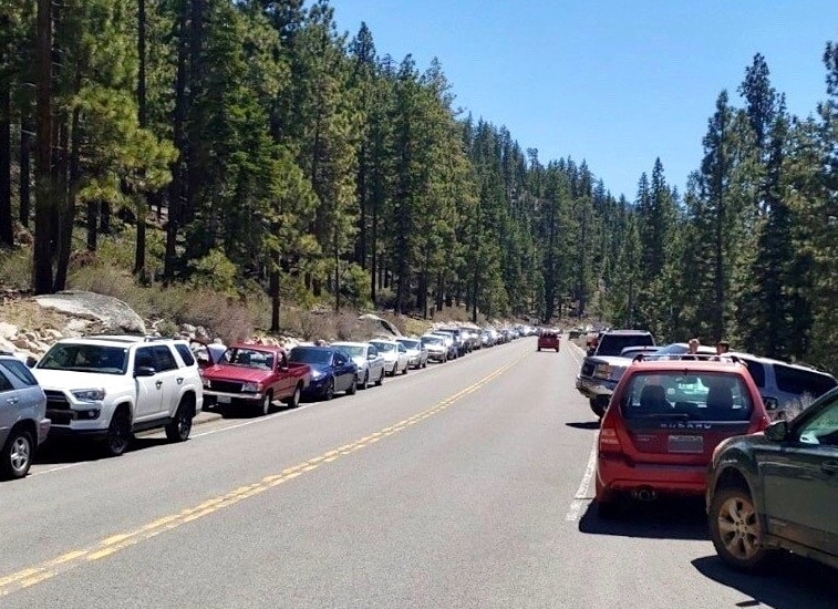 Nevada Highway Patrol wrote over 60 tickets in two hours Tuesday for cars parked illegally on State Route 28.