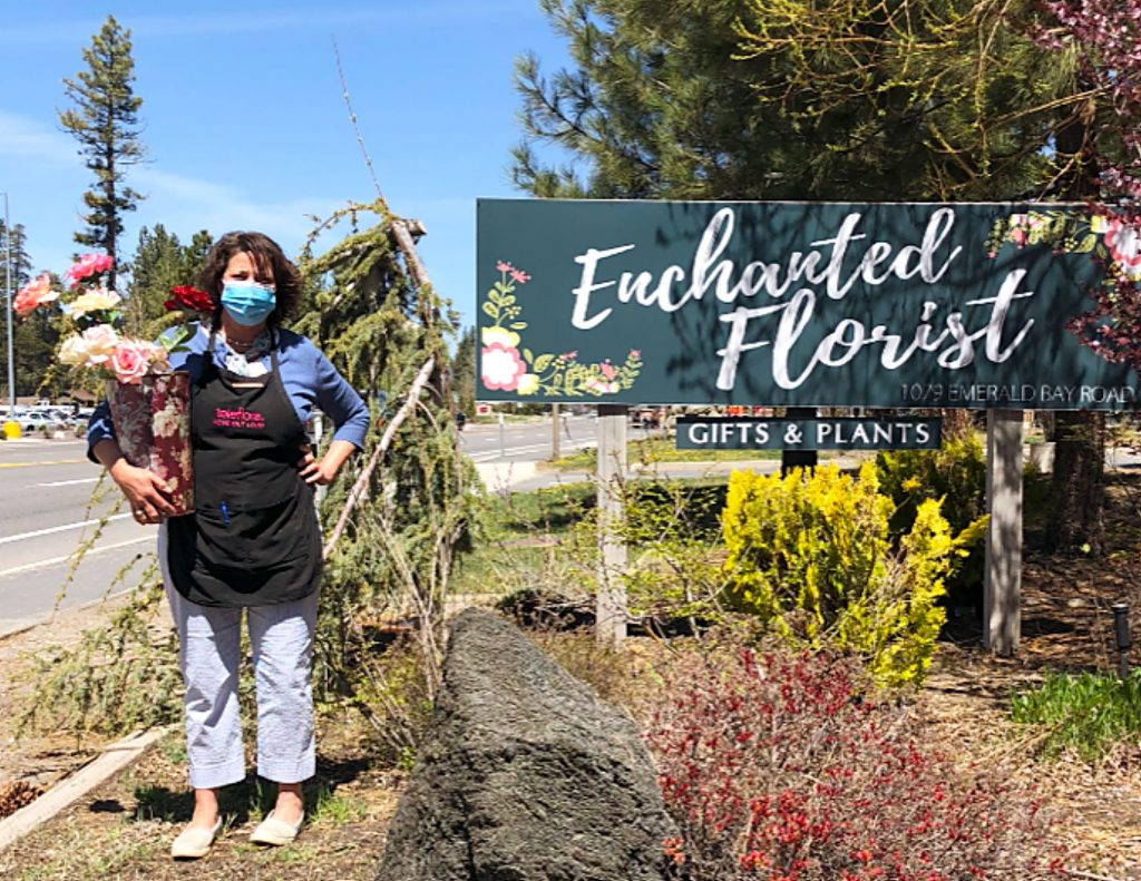 Karen Estes, owner of Enchanted Florist in South Lake Tahoe, is open for business after being shut down for over a month.