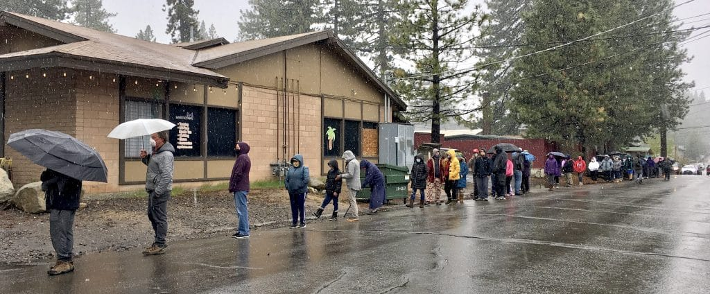 Residents lined up Monday for Overland's free beef giveaway.