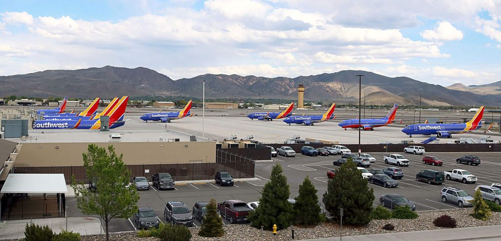 There are 10 to 15 Southwest planes parked at Reno-Tahoe Airport.