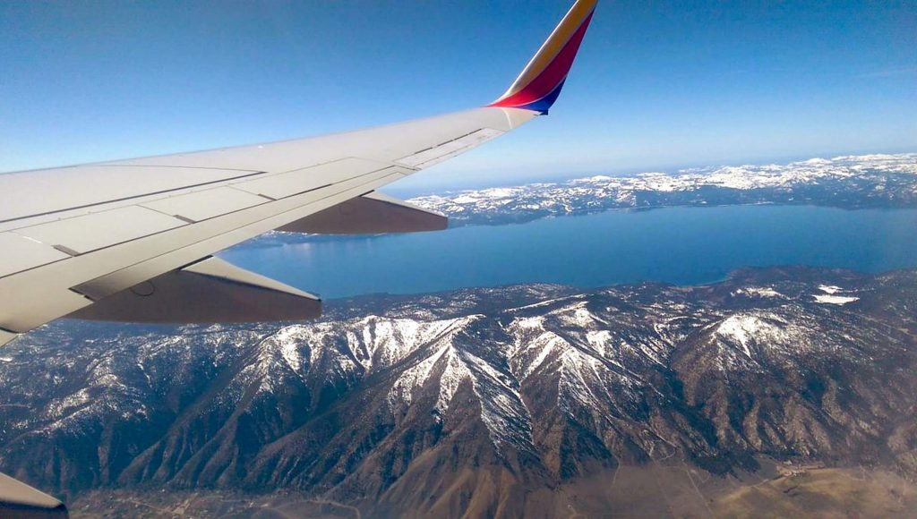 A view of the Lake Tahoe Basin from an airplane.