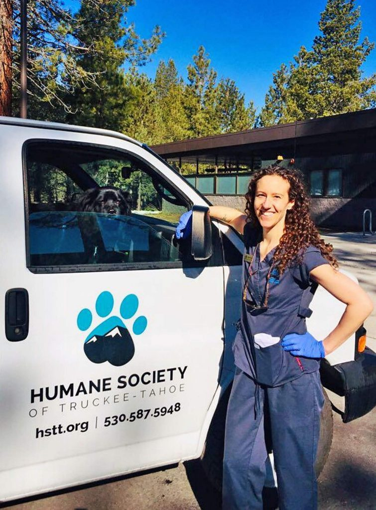 HSTT Adoption Specialist, Maria Marsh not only facilitates curbside adoption process, she and her adopted dog, Manny, deliver food to needy pets, from Loyalton to South Lake Tahoe.