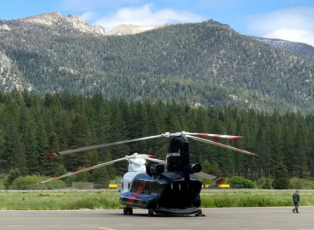 A Chinook firefighting helicopter will be stationed this summer in the basin. Currently it's at Lake Tahoe Airport.