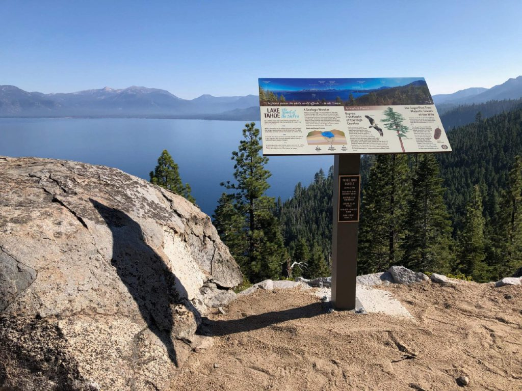 A trail realignment project in D.L. Bliss State Park included this new informational kiosk. It also involved stabilization work for the historic Rubicon Point lighthouse.