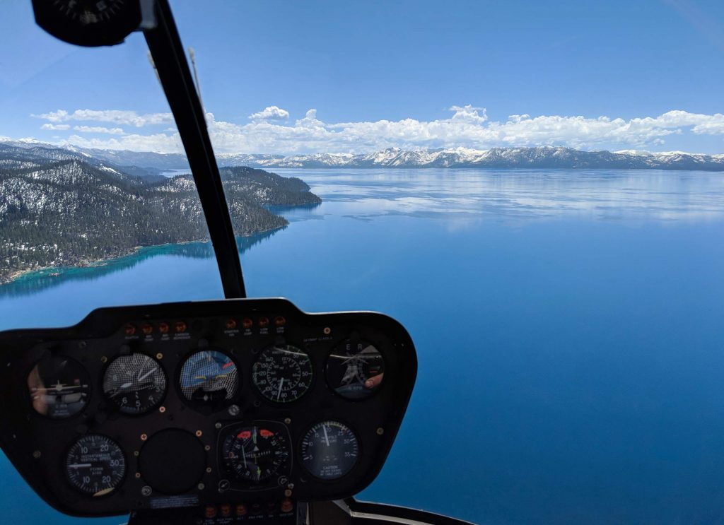 Get a bird's eye view of Big Blue from the cockpit of a helicopter.