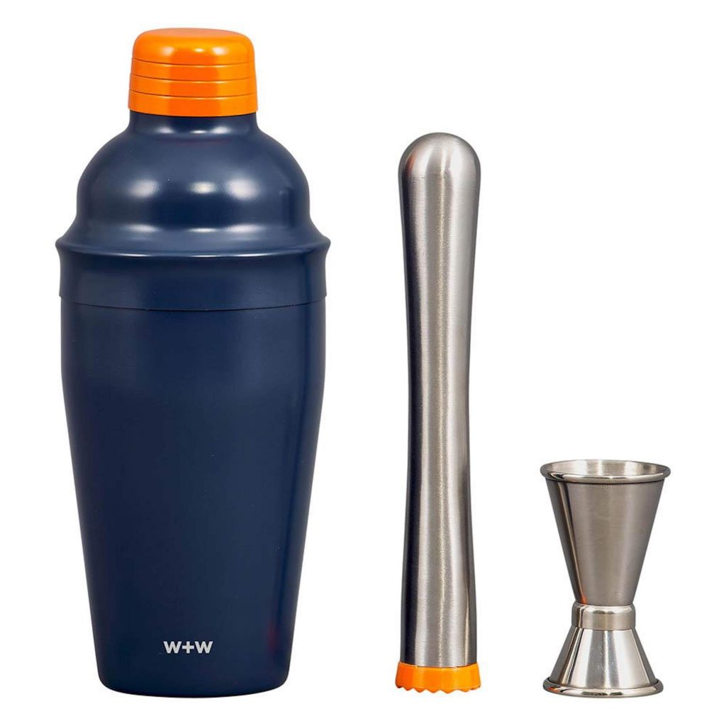 Mix of cocktails like a pro on the go with this lightweight, stainless steel cocktail set with a shaker, muddler and jigger.