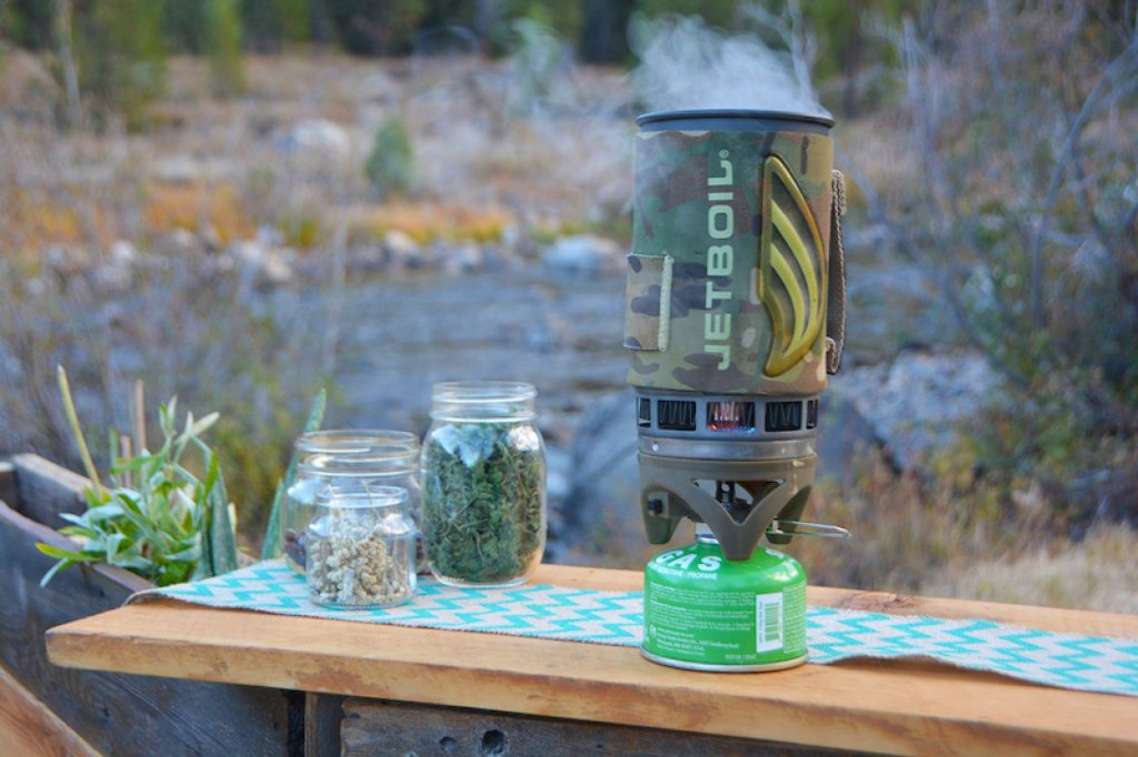 A lightweight backpacking stove does more than just cook your meals in the backcountry; it can also be used to steep teas to mix with spirits for a hot toddy or to create a foraged-berry simple syrup.
