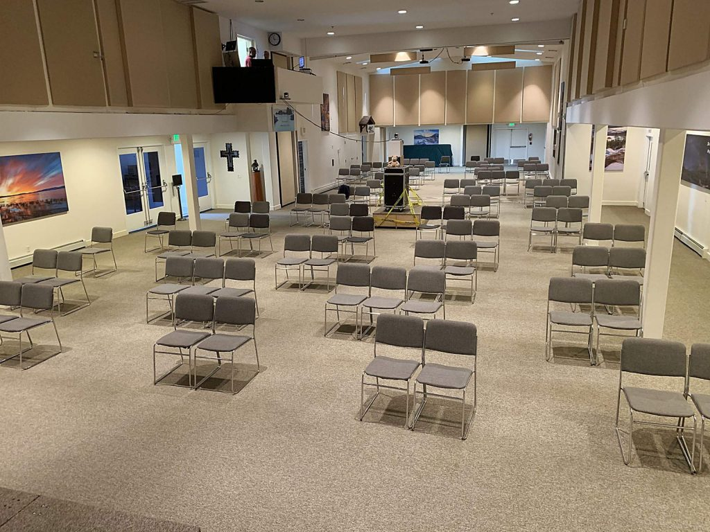 Sierra Community Church's current set up indoors to accommodate gathering size and social distancing.