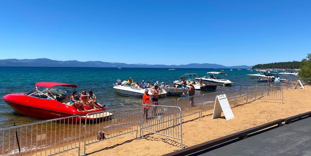 Lake Tahoe boaters socially distanced on hole 18 Sunday.