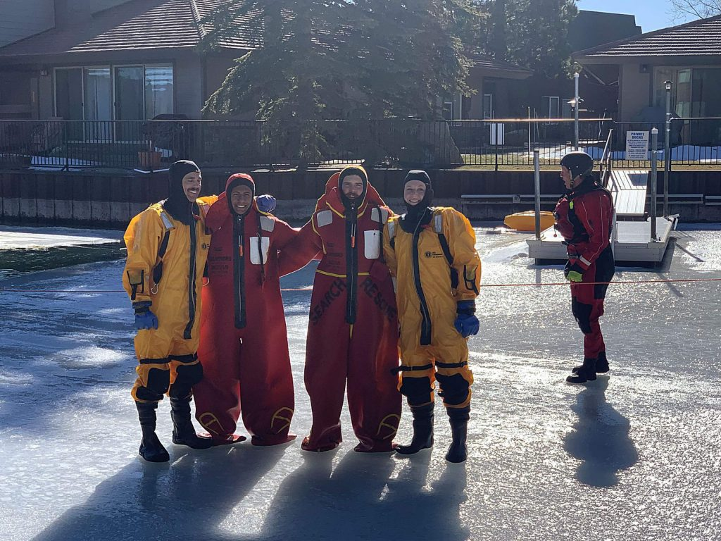 LTBFA cadets geared up for ice rescue training.