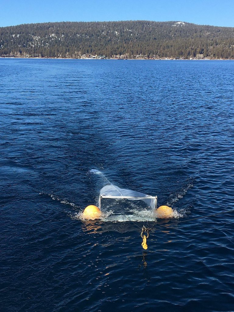 Manta Trawl net being pulled across the surface of Lake Tahoe behind the UC Davis Research Vessel John LeConte.