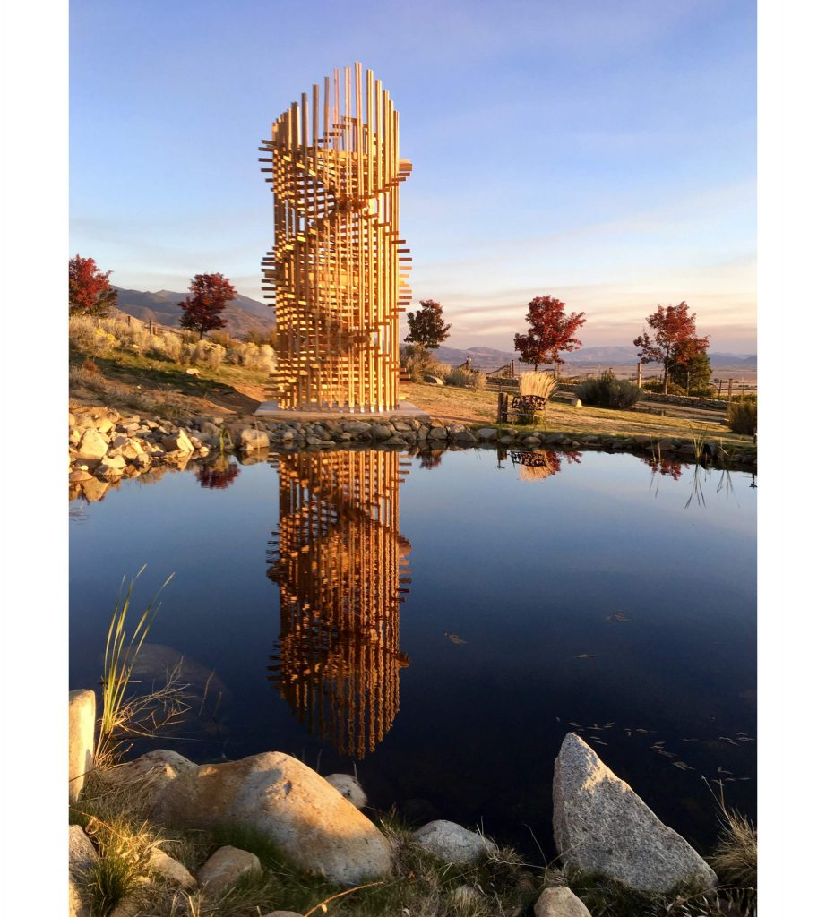 "The 30-foot tall ""Helix"" was commissioned by Steve Hardy for the art center's sculpture park and brought to life by eco sculptor John Melvin."