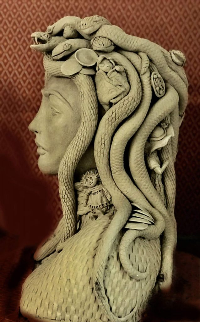 Guerra's Multitasking Medusa Motherhood sculpture relates to complex decisions of our time.