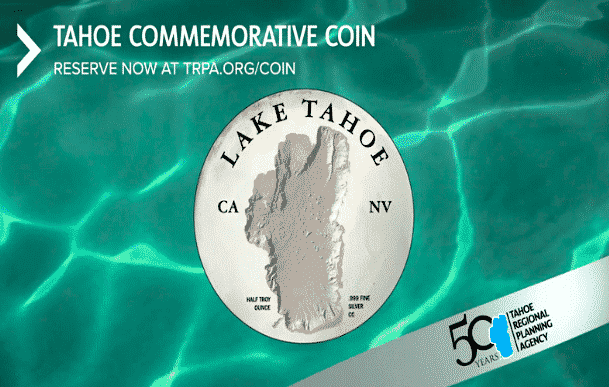The front of the commemorative Lake Tahoe coin.