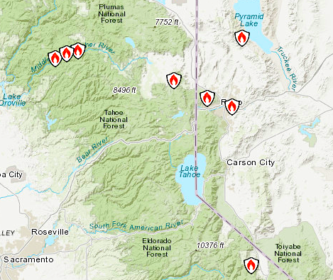 Screen grab of the wildfire map from inciweb.nwcg.gov.